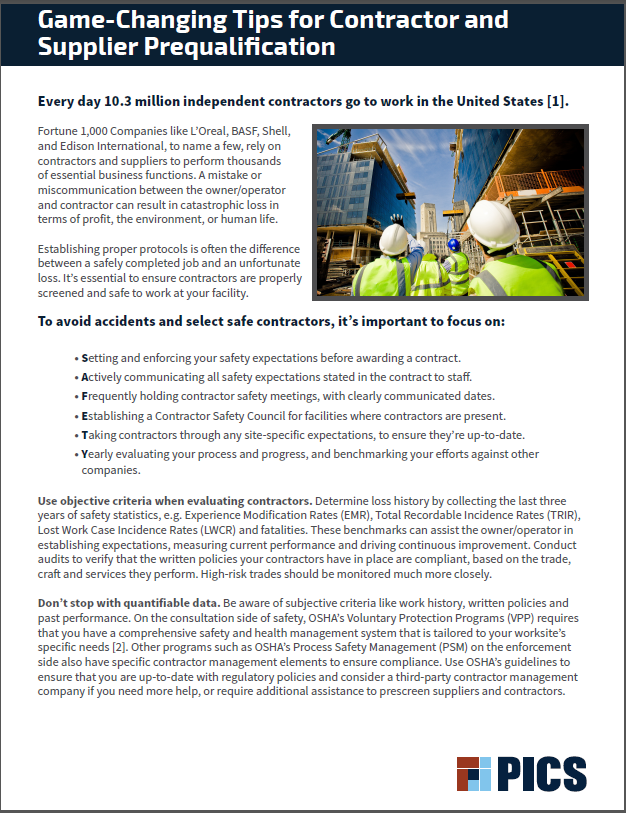 PICS White Paper Cover - Game Changing Tips for Contractor and Supplier Prequalification.PNG